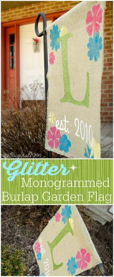 A rustic glam burlap garden flag with glitter heat transfer vinyl! Silhouette Challenge Spring!