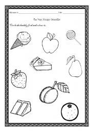English worksheet: Healthy food - The Very Hungry Caterpillar