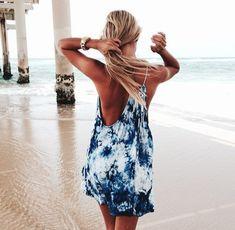 dress beach beachy tie dye blue blue dress summer summer dress beach dress model like love this tumblr help me pls white