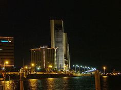 Corpus Christi, Texas - Wikipedia, the free encyclopedia/It is so beautiful at night!  My husband & I enjoyed the view from our 17th floor room with balcony which faced the Harbor Bridge.  The bridge is lit until sometime in the middle of the night.