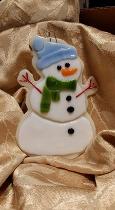Fused Glass Christmas Ornament - Santa's Sugar Cookies Snowman by 1231Glass on Etsy