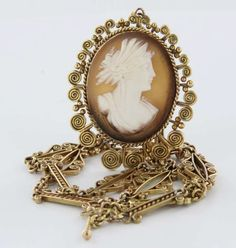Vintage 14k Gold Cameo Pendant Drop Necklace Estate Fine Jewelry Heirloom gold jewelry