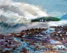 Artwork >> Angelo Tremblay >> L Île-aux-Coudres in fire#artwork, #masterpiece, #oil, #painting, #canvas,  #nature, #sky, #water, #wave, #sea
