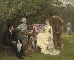 View The tea party By British School, oil on canvas; 25 x 30 in. x cm. Access more artwork lots and estimated & realized auction prices on MutualArt. Tea Party Pictures, Victorian Tea Party, Colonial Garden, Victorian Paintings, British Schools, Painted Cottage, Tea Art, Tea Ceremony, Magazine Art