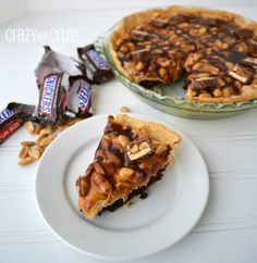 Snickers Peanut Butter Pie | crazyforcrust.com | #pie #snickers
