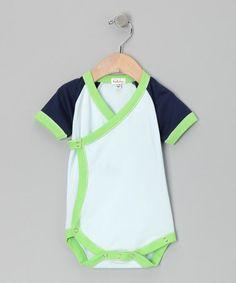 Another great find on #zulily! Light Blue & Navy Wrap Bodysuit - Infant #zulilyfinds