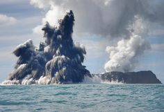 An undersea volcano is seen erupting off the coast of Tonga, sending plumes of steam, ash and smoke up to 100 metres into the air, on March 18, 2009 off the coast of Nuku'Alofa, Tonga.