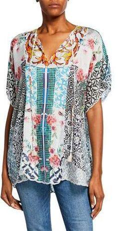 Johnny Was Plus Size Retrix Split-Neck Silk Georgette Blouse Kimono Sewing Pattern, Johnny Was, Types Of Fashion Styles, Designs To Draw, V Neck Tops, Boho Fashion, Plus Size, Silk, Clothes For Women