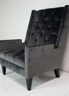 Knightsbridge Wing Chair in Charcoal Velvet
