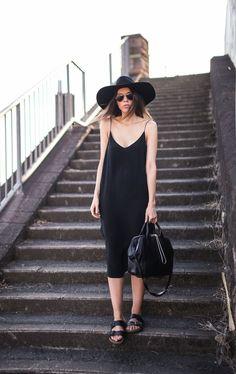 Картинки по запросу slip black dress street style