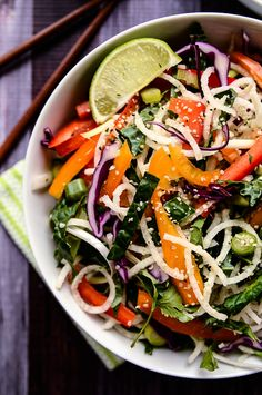 Colorful Jicama Noodle Salad with Creamy Tahini-Ginger Dressing | Vegan