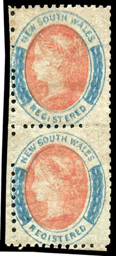 NEW SOUTH WALES - 1860-63 'REGISTERED' Perf 12 rose-red & Prussian blue SG 121 vertical pair, unused, Cat £1400+. / MAD on Collections - Browse and find over 10,000 categories of collectables from around the world - antiques, stamps, coins, memorabilia, art, bottles, jewellery, furniture, medals, toys and more at madoncollections.com. Free to view - Free to Register - Visit today. #Stamps #MADonCollections #MADonC Prussian Blue, South Wales, Red Roses, Bottles, Mad, Stamps, Coins, Objects, Auction