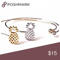 ✏ Ring and Bracelet Set Pineapple ring and open bangle. Gold Plated Set   Jewelry Rings