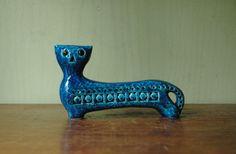 Mid Century Modern Bitossi Rimini Blu Cat Figurine by JunkHouse On Etsy