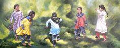 Artist: Dave Fadden;  Young girls in Iroquois dress