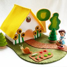 Sunflower Cottage Playscape Play Mat wool felt gingerbread house storytelling fantasy storybook fairytale Dollhouse Christmas pretend by MyBigWorld2015 on Etsy