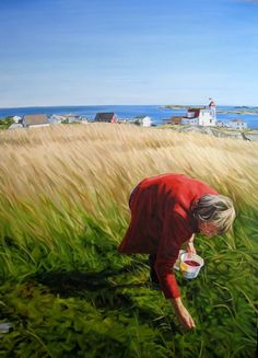 "Blueberry picking in Newfoundland. Heather Horton, ""The Berry Picker, Greenspond"", oil Selling Paintings, Newfoundland And Labrador, Canadian Artists, Beautiful Islands, The Rock, Impressionism, Nature, Original Paintings, Fine Art"