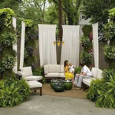 Privacy curtains made out of outdoor fabric: 22 Fascinating and Low Budget Ideas for Your Yard and Patio Privacy