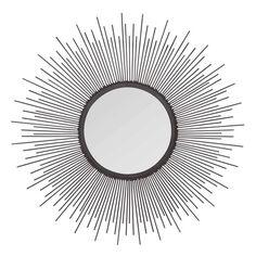 Specchio a forma di sole in metallo scuro D.60cm JOYA