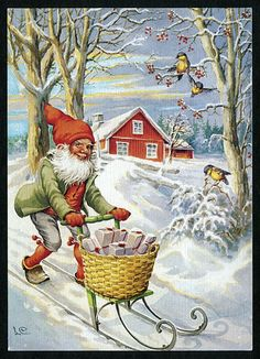 Gnome delivering Christmas presents - LC
