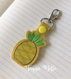 Pineapple Key chain Backpack Clip or Purse Clip Glitter