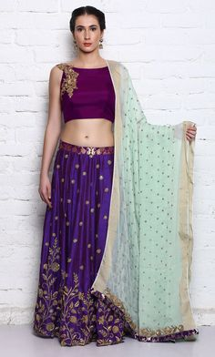 bisouNYC - Purple And Sky-Blue Lehenga