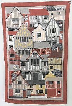Vintage Irish Linen Tea Towel Lavenham by Pat Albeck 70s Rust Orange Color