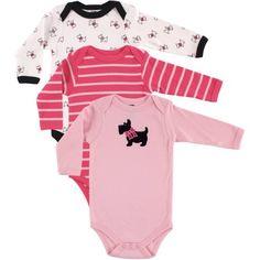 Hudson Baby Newborn Baby Girls Bodysuit Long Sleeve 3-Pack - Scottie Dog