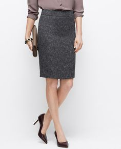 the perfect pencil skirt in the perfect grey tweed for fall