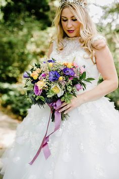 Colorful Brooklyn Botanic Garden Wedding, Bright Bouquet Reminiscent of Wildflowers | Brides.com