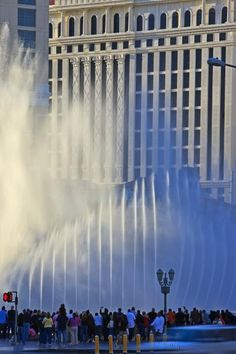 The fountains of the Bellagio Hotel and Casino dancing in the sunlight for the audience. Las Vegas.