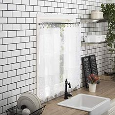 """No. 918 Joy Macrame Lace Trim Semi-Sheer Rod Pocket Kitchen Curtain Valance and Tiers Set, 60"""" x 36"""" 3-Piece, White 