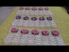 Crochê para ser aplicado em toalhas de banho e rosto.feito com flores rosetas.Cristina Coelho alves - YouTube