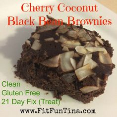 Clean cherry coconut black bean brownies. Oh sweet yumminess! For more easy and clean recipes, head over to www.FitFunTina.com.