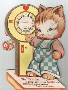 Vintage cute cat Valentine Valentine's Day card greeting