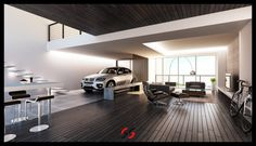 car in living room