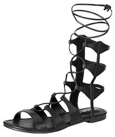 Breckelles EA51 Women Leatherette Open Toe Gilly Tie Wrap Gladiator Sandal - Black (Size: 11) - Brought to you by Avarsha.com