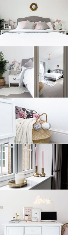 Blush, grey and white bedroom decor with metallic accents and Luna bed from Loaf.com, Ikea furniture hacks, vintage mirrors and chalk pink lamps. Neon lights for bedroom decor.