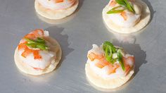 Chef, cookbook author and TV personality Sara Moulton makes these crunchy, savory, Asian-influenced snacks with store-bought convenience items: thin rice crackers, mayo, wasabi and precooked shrimp.