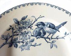 "Bowl - Soup plate - Faience Blue Transferware by Sarreguemines - France -  pattern "" Favori """