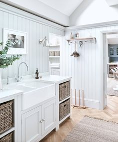 Boot room - Neptune Chichester Bijkeuken Neptune Chichester Utility Room Classical White Country Utility With Wainscoting Farmhouse Laundry Farm Sink Laundry Room Design, Kitchen Design, Laundry Rooms, Boot Room Utility, Neptune Kitchen, Neptune Home, Utility Room Designs, Utility Room Ideas, Decoration Chic