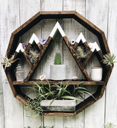 Mountain Circle Shelf, Mountain shelf, circle shelf, moon shelf, essential oil s. Mountain Shelf, Mountain Cabin Decor, Mountain Living, Wood Crafts, Diy And Crafts, Circle Shelf, Circle Circle, Essential Oil Shelf, Essential Oils