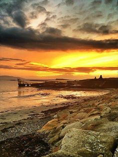 Sunset over Galway Bay at the diving board, Salthill, Galway, Ireland
