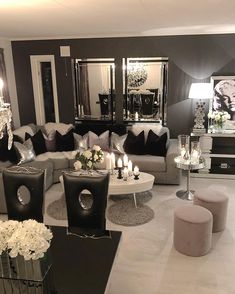 28 Cozy Living Room Decor Ideas To Copy , - Home decor cozy Glam Living Room, Living Room Decor Cozy, Elegant Living Room, Beautiful Living Rooms, Home And Living, Bedroom Decor, Apartment Living, Cheap Home Decor, Home Interior Design
