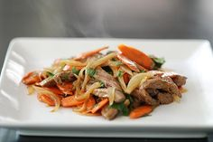 Beef, Sweet Onion and Carrot Stir Fry...quick and yum