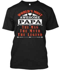 Papa The Man Black T-Shirt Front