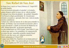 MISIONEROS DE LA PALABRA DIVINA: SANTORAL - SAN RAFAEL DE SAN JOSÉ