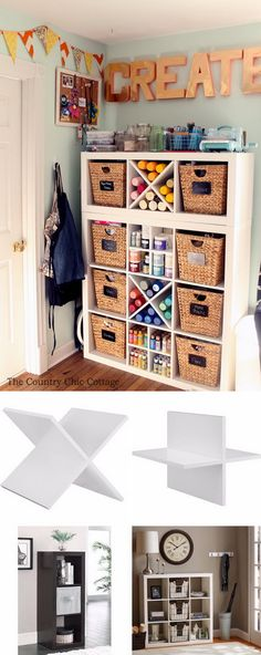 DIY Great Craft Room Organizer Made from Existing Cube Storage and Plank Dividers.