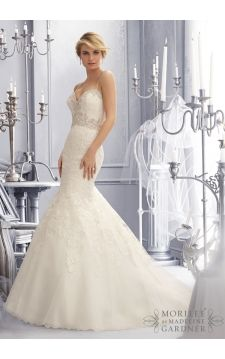 Wedding Dress  2689 Crystal Beaded Embroidery Accents the Sparkling Alencon Lace Appliques on this Net Bridal Gown
