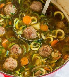 Loaded with vegetables and homemade meatballs, this light, yet hearty soup comes together in less than 45 minutes. Great weeknight and weekend dinner! Easy Soup Recipes, Bean Recipes, Cooking Recipes, Healthy Recipes, Diet Recipes, Healthy Diners, Nutritional Yeast Recipes, Soup Beans, Snack